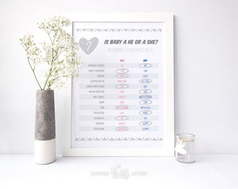 Baby Gender Reveal INSTANT Digital Printable Old Wives Tales Chart Prediction Party