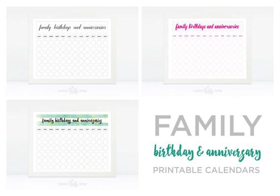 Family Birthday Anniversary Calendar Printable Family Etsy