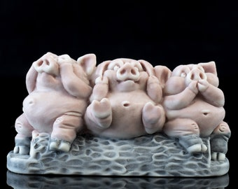 Marble Two Pigs Statue.Hand Carved in Mexico.Marble Makin Bacon Statue.Gray and Beige Marble Pigs.Novelty Statue.