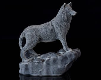 """Wolf Howling at the Moon Marble Figurine Stone Sculpture Russian Art Statue 4/"""""""