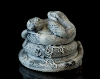 Snake Stone Marble Jewelry Box Animal Figurine Art Souvenir Handmade Statuette For Home Decor Dressing Table Decoration Gothic Decor