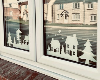 Christmas Houses Christmas Trees Silhouettes, Window dressing Sticker, Novelty Holiday Festive design, Window, Spread the joy in Lockdown