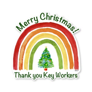 Merry Christmas key workers Rainbow Window wall Sticker Spread joy in Lockdown