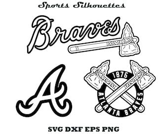 Atlanta Braves silhouette, Sports silhouette, Baseball silhouette, Atlanta Braves SVG, Atlanta Braves EPS, Braves cut file, Braves cricut