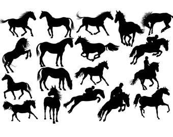 Horse Silhouette Clip Art SVG DXF Vector Cut File Cricut Png Image Printable