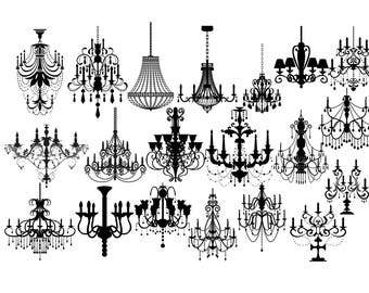 Chandelier Silhouette Baroque Ornament SVG Clipart Vintage Digital Image