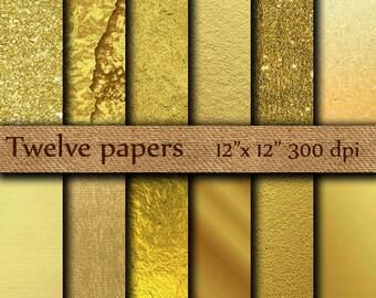 "Gold Foil Digital Paper: ""GOLDEN  PAPERS"" Metallic Gold Digital Paper Gold Paper Gold Backgrounds Digital Gold Foil Paper"