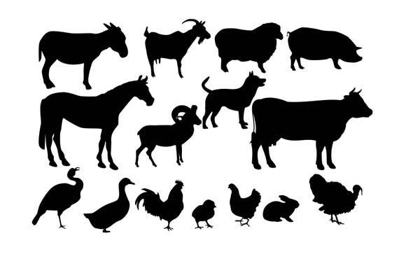 Farm animal SVG Animal Silhouette Farm animal Clipart Farm ...