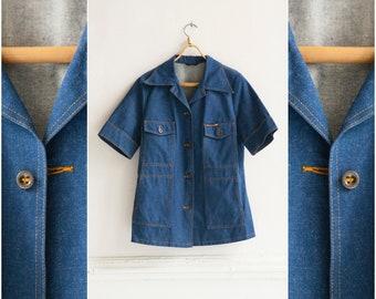 64a18e29abc Vintage 70s Denim Jacket Blue Jean Jacket Oversize Denim Blazer Womens Large  Denim Jacket 1970s Jean Jacket Short Sleeve Denim Blazer Size L