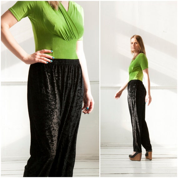 80s Mom Pants Black Velvet Pants High Waisted Baggy Pants  37ddd1d03