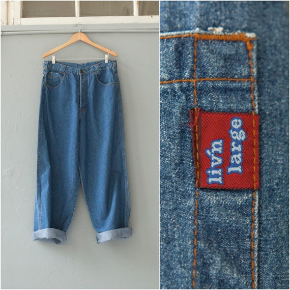 20f12229110 Vintage 90s Boyfriend Jeans High Waisted Jeans 33 Tapered Leg