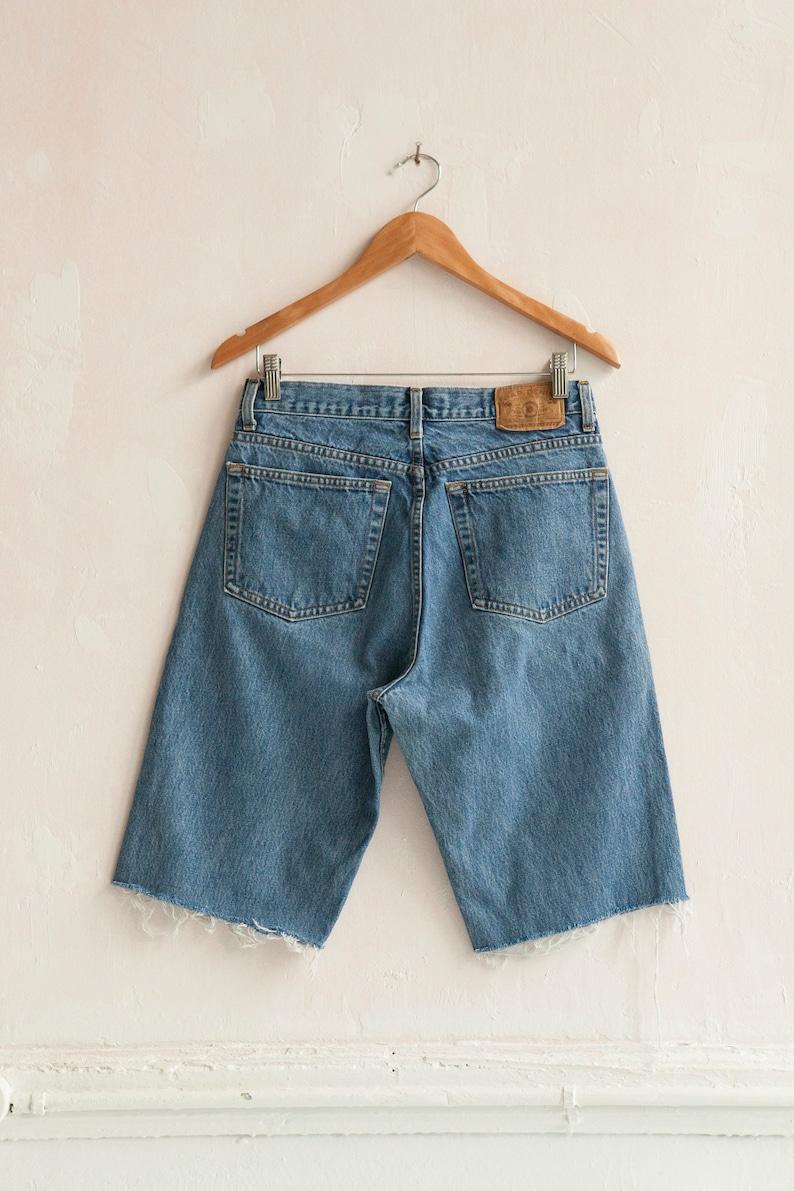 Vintage Gap Jeans 90s Denim Shorts Mens Mid Rise Waist 30 Cut Offs Blue Wash Straight Leg Jeans Womens Boyfriend Shorts Fray Jean Shorts W30