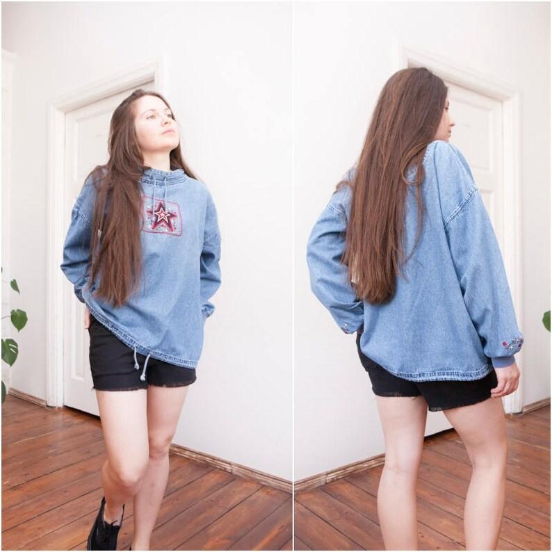 44ade593153 90s Oversize Denim Pullover Shirt Mens Large Jean Jumper Baggy