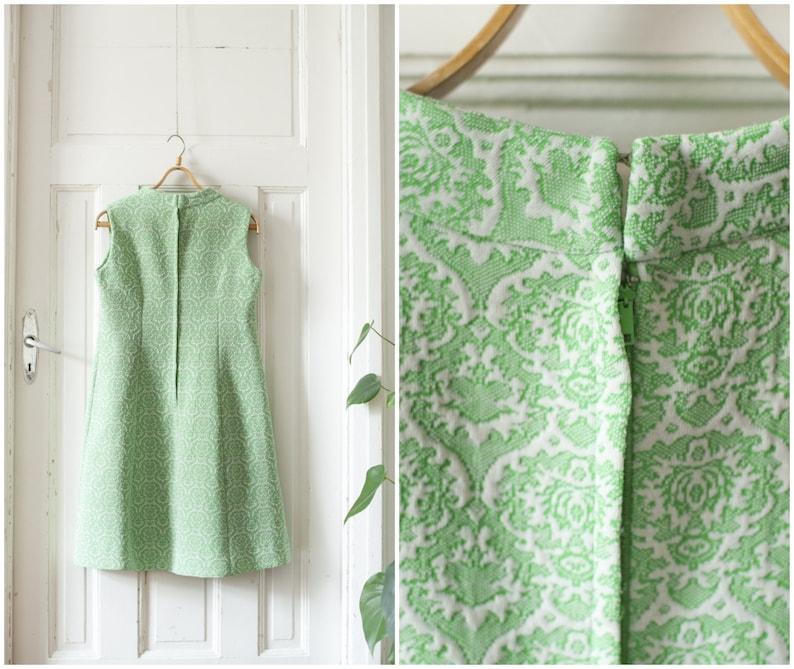 d12ac945b3e Vintage 60s Mod Dress Green Neon Dress White Lace High Collar