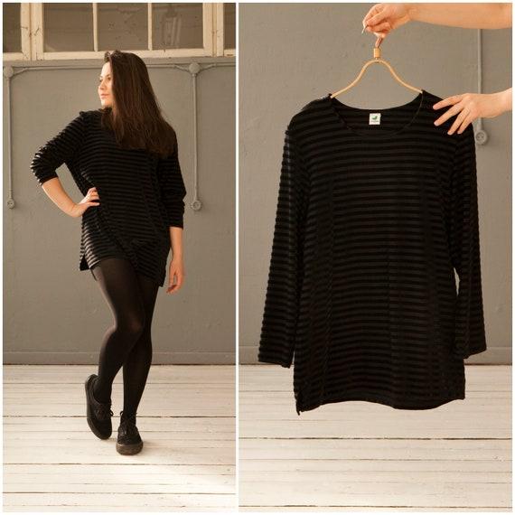 2f5393c25a8 Vintage 90s Velvet Top Black Striped Tunic Womens Small Medium
