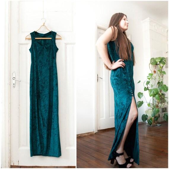 Vintage Smaragd samt Maxi-Kleid dunkel grün langes ...