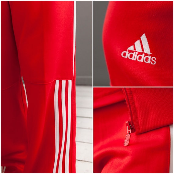 Adidas Tracksuit Three Piece Track Suit Adidas Jacket Sports Pants T shirt Matching Set Womens S M Singlet Red Jacket Tracksuit Bottoms Tee