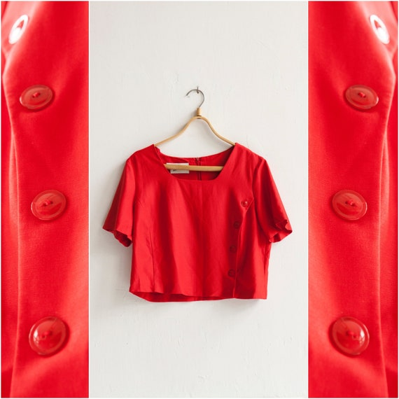 6c9c3b488f2e98 Vintage 90s Crop Top Red Cropped Blouse Back Zipper Top Womens