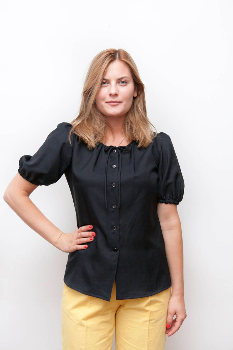 Retro Black Blouse womens size Medium Puff Sleeves Button Down Blouse Vintage 80s Black Front Tie Top Balloon Sleeve Top Short Sleeve Blouse