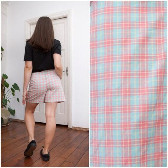3f65cfade Vintage 90s Skorts Pastel High Waisted Shorts Checkered High   Etsy