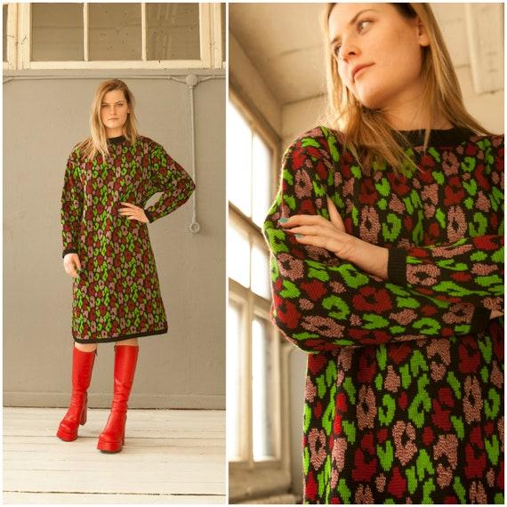 Vintage 80s Dress Oversize Baggy Dress Colorful Kn