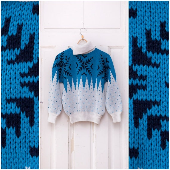 3b8ed9722 70s Turtleneck Sweater Snowflake Knitted Jumper Blue Womens
