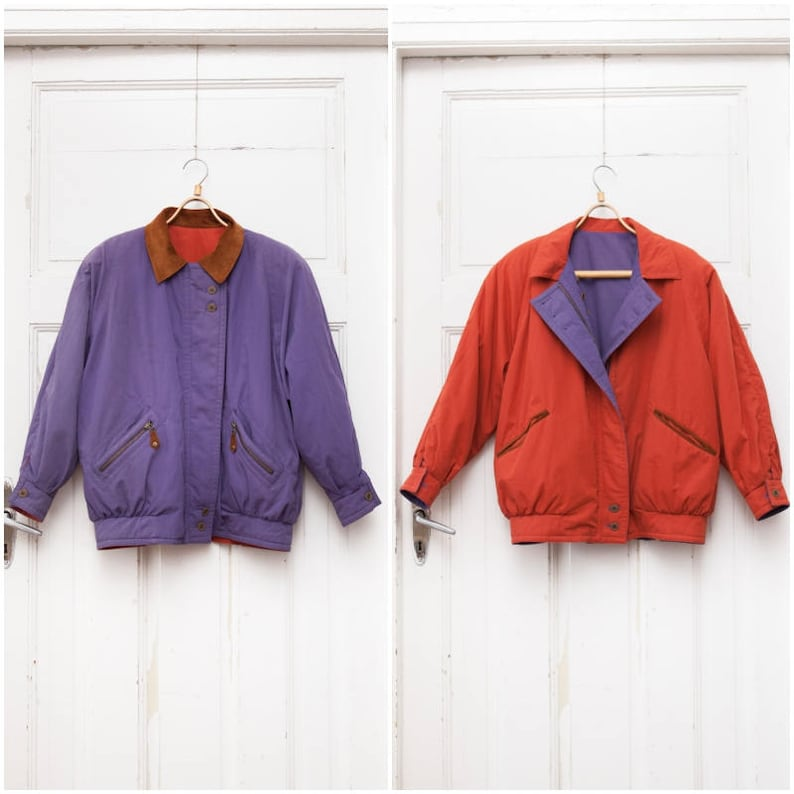 5469d5677 Vintage 90s Bomber Jacket Reversible Winter Jacket Womens Large Padded  Bomber Jacket Purple Orange Baggy Dual Jacket Oversize Warm Jacket L