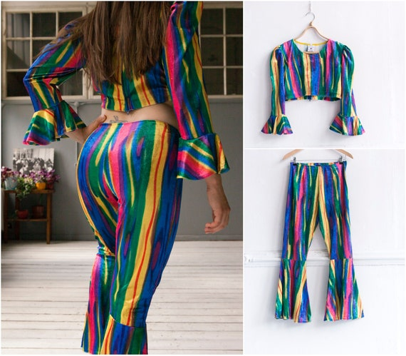 Rainbow Velvet Flares and Crop Top co ord Festival