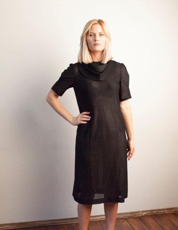 70s Black Dress Sheer Black Dress Chic Black Dress