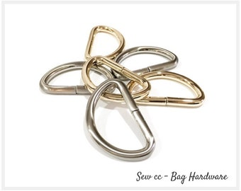 """38 mm D Rings - 1.5"""" D Rings (PACK OF 2) - Iron D Rings in Brushed Nickel or Light Gold - Sew cc bag hardware & accessories"""