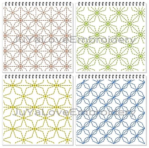 Sashiko Muster Quilt Blöcke Quilten vier Muster sechs