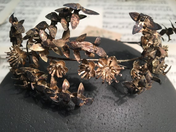 Boho bridal crown for wedding, silver vintage tiar