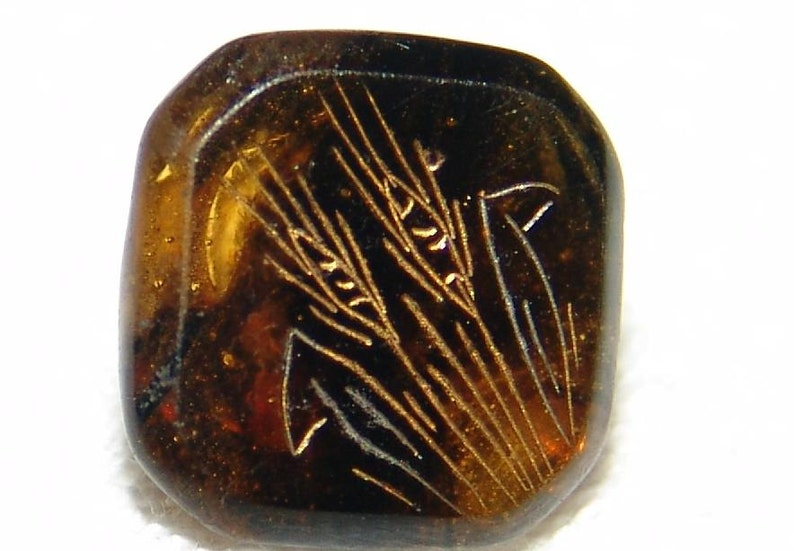 Superb Antique Marble Amber Glass Button ~ Charmstring Button ~ Incised Wheat Sheaves Design ~ Gold Luster ~ Simply Stunning!