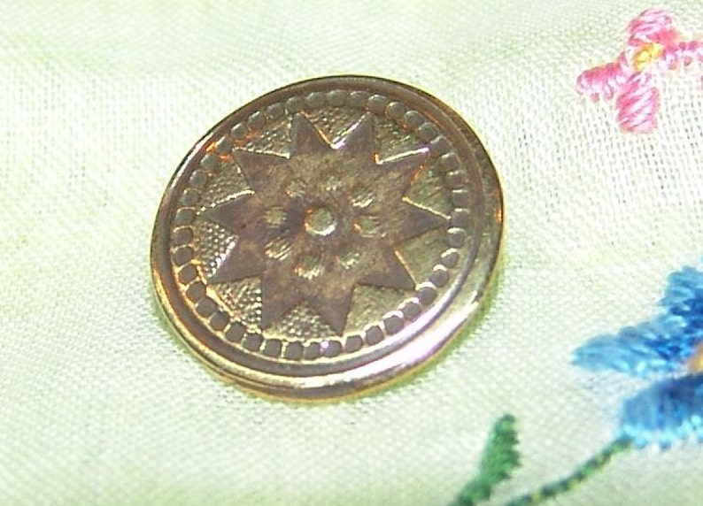Sensational 18th Century Brass Button ~ Highly Decorated with Lots of Texture ~ Star Design