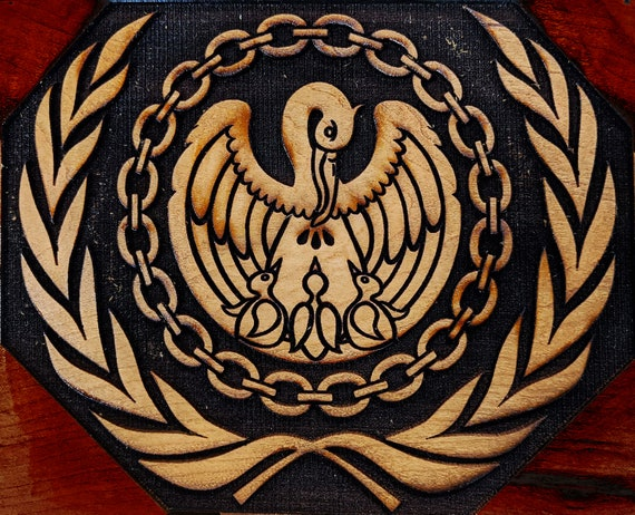 Pelican within a Laurel Wreath Woodcut for Wood Block Printing or Leather Embossing SCA NEW