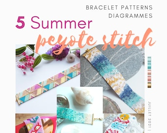 5 (FIVE) summer peyote miyuki bracelet pattern/peyote pattern bracelet/odd count peyote pattern/bead bracelet pattern/instant download pdf