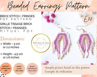 Brick stitch earring pattern/brick stitch pattern/bead fringe earring pattern/rainbow earring/seed bead pattern/miyuki earring/dangle