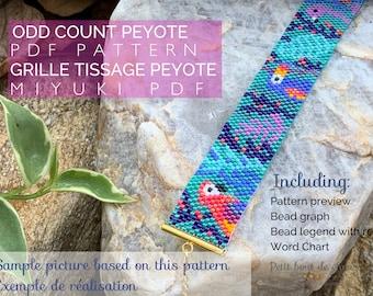 PDF Peyote Bracelet Pattern/Beading grid/odd count peyote bracelet/ Miyuki delica beads/miyuki pattern/jungle exotic tropical life pattern