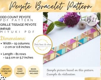 Peyote Miyuki bracelet pattern/peyote pattern bracelet/odd count peyote pattern/bead bracelet pattern/instant download pdf/seed bead pattern