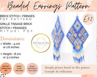 Brick stitch earring pattern/brick stitch pattern/bead fringe earring pattern/blue gold lao earring/seed bead pattern/miyuki earring/dangle