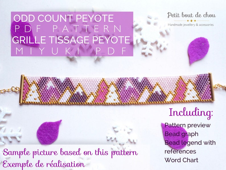 PDF Peyote Bracelet Pattern/Beading grid/odd count peyote image 0