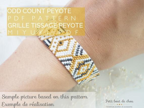 San Francisco offrir des rabais Prix 50% Grille de tissage bracelet/peyote impair/diagramme miyuki/perles miyuki  delicas/pdf à télécharger/motif geometrique noir blanc doré