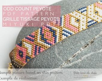 PDF Peyote Bracelet Pattern/Beading grid/odd count peyote bracelet/ Miyuki delica beads/miyuki pattern/geometric pattern/navy pink neon gold