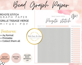 Peyote bead graph paper/miyuki graph paper/blank bead pattern/beading graph/beading chart/blank templates/printable graph
