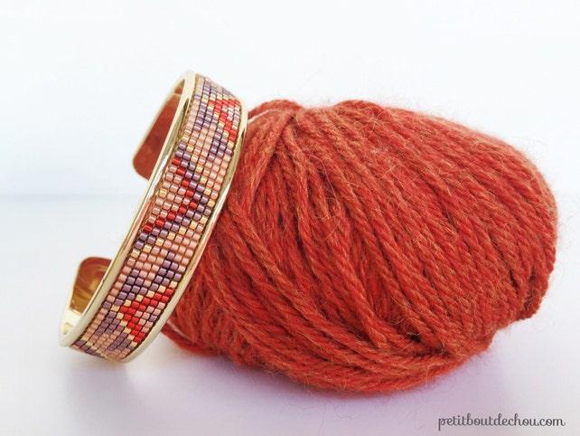 Miyuki Delica Perlen handgewebt Manschette Armband Inka Muster   Etsy