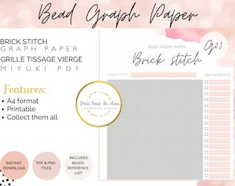Brick stitch bead graph paper/miyuki graph paper/blank bead pattern/beading graph/beading chart/blank templates/printable graph