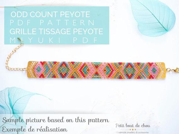 Beading Pattern Instand Donwload Peyote Pattern Leopard Earrings and Pendant Miyuki Pattern PDF Pattern Yoi#01 Odd Count