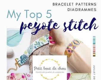 PDF E-book top 5 Peyote Bracelet Patterns/Beading grids/odd count peyote bracelet/ Miyuki delica beads/miyuki pattern/seed beads pattern