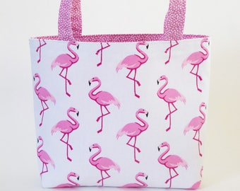 Tote bag with flamingo, pink and white