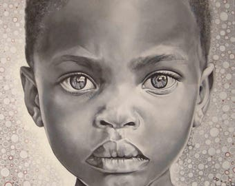 Realistic acrylic painting on cotton canvas with wooden frame. Child portrait, neorealist style, decorative and original.